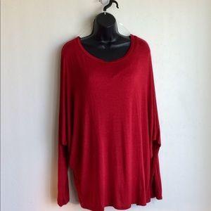 Red Dolman Sleeve Top Size XXL by Amelia James